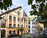 Historic Hotel Zum Rassen. The old town of Partenkirchen in Garmisch-Partenkirchen. Europe, Central Europe, Germany.