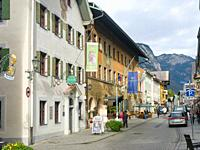 Hitoric street Ludwigstrasse. The old town of Partenkirchen in Garmisch-Partenkirchen. Europe, Central Europe, Germany.