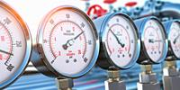 Row of gas pression gauge meters on gas pipeline. Gas extraction, production, delivery and supply concept. 3d illustration.