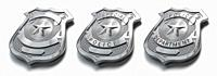Police metal badge isolated on white Sign and symbol of police. 3d illustration.