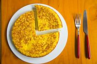 Spanish omelet. View from above.