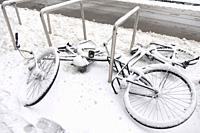 Undersnowed bicycles, Eindhoven, The Netherlands, Europe.