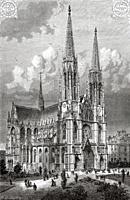 Neo gothic style Votive Church. The Votive Church of the Divine Savior. Votive Church (Votivkirche) one of the most remarkable churches of the 19th ce...