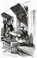 Woman embroidering silk in an artisan workshop in the Egyptian city of Cairo. Ancient Egypt History. Old 19th century engraved illustration from El Mu...