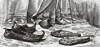 Traditional Arabic shoes. Ancient Egypt History. Old 19th century engraved illustration from El Mundo Ilustrado 1879.