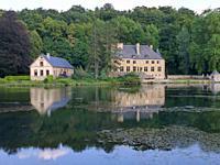 mansion at lake in Orval, Belgium