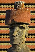 Ahu Nao-Nao Moais wearing a red hat, Anakena, Rapa Nui National Park, Easter Island, Chile, Unesco World Heritage Site.