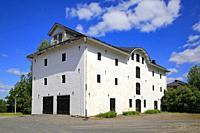 White multi storey stone granary, 1802, Jokioinen Manor, Finland.