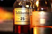 Close up of bottle of Whiskey Tullibardine Single Malt 25 Years.