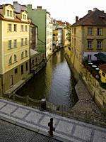 View of ÄŒertovka (Devil's Stream) from Charles IV Bridge.. Prague. Czech Republic