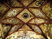 Medieval Decoration. Ceiling of Charles IV Bridge Tower. . Prague. Czech Republic.