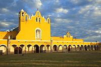 View to the Monastery and Convent Of San Antonio De Padua at the historic center, Izamal, Yucatan Province, Mexico, Central America.