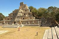 Visitors in front of Edificio de los Cinco Pisos building at Gran Acropolis in Edzna Mayan Archaeological Site, Campeche Region, Mexico, Central Ameri...