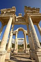 View to the Tetrapylon at Aphrodisias Archaeological Site, Geyre, Aydin Province, Asia Minor, Turkey, Europe.