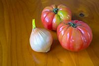 Onion and tomatoes. Still life.