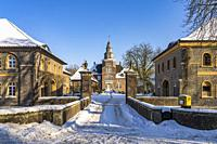 Snowy Sandfort Castle in Winter, Olfen, Muensterland, North Rhine-Westphalia, Germany, Europe.
