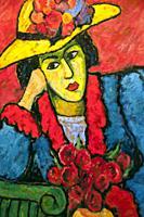 Fondation Pierre Gianadda, Martigny, Switzerland, oil on cardboard - Alexej von Jawlensky (1864 – 1941) - ´dame au chapeau de paille jaune´ - Lady in ...