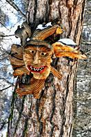 Tschäggättä - Tschaeggaetae - traditional, regional mask in the mountains, walking trail from Hannig to Saas-Fee, Valais, Switzerland, Europe