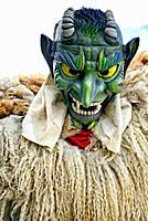 young man disguised as Tschäggättä - Valasian frightening figure, Tschäggättä - Tschaeggaetae - traditional, regional mask in Swiss mountain cantons, ...