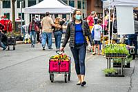 Woman in face mask pulls cart behind her at Silver Spring Farmers Market ,Silver Spring, MD.