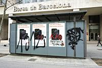 February 20th, 2021. Barcelona, Spain. Messages left by supporters of arrested Catalan rapper Pablo Hasel during demostrations in Barcelona. The arres...