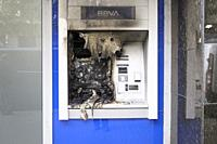 February 20th, 2021. Barcelona, Spain. Bank ATM burned down during the protests against the imprisonment of the Catalan rapper Pablo Hasel. The arrest...