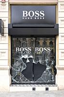 February 20th, 2021. Barcelona, Spain. Broken window of a luxury shop assaulted after supporters of arrested Catalan rapper Pablo Hasel protest in Bar...