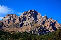 Landscape with the Telera rock on the Piedrafita lake route from Piedrafita de Jaca. Tena valley. Huesca.