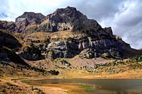Landscape in the Piedrafita lake and Telera rock. Tena valley. Huesca.
