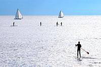 Paddle surf athletes and sailboat in front of the beaches of Barcelona, Catalonia, Spain