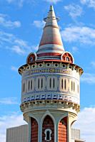 Torre d´aigües de la Catalana de Gas, modernism, 1905, architect Josep Domènech i Estapà, Barceloneta District, Barcelona, Catalonia, Spain