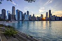 Chicago Skyline at sunset, Chicago, Illinois, United States.