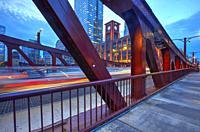 Clark Street Bridge at blue hour, Chicago, Illinois, United States.