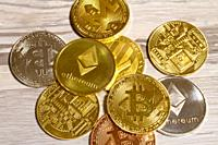 Close-up of cryptocurrencies.