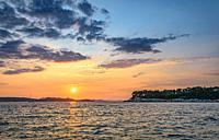 Sunset over Adriatic sea.
