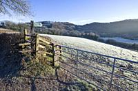 Winter frost in the countryside near Bampton in the Exe Valley, Devon, England.