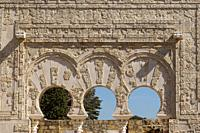 Córdoba (Spain). Close-up of the Arches of the Prime Minister's Gate in the archaeological site of Medina Azahara.