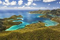 Aerial view of Hurricane Hole with Coral Harbor in the distance on the island of St. John in the United States Virgin Islands.