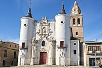 Church of Santa María de la Asunción, in Rueda. Road to Santiago del Sureste as it passes through the province of Valladolid. Castile and Leon. Spain.