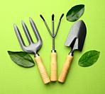 set of garden tools with wooden handles on a green background, top view.