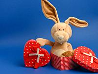 cute plush rabbit holding a gift box tied with a red silk ribbon, blue background.