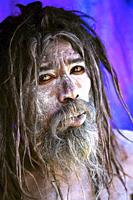 Aghori baba on the burning ghat south of Bénares, during the kumbh mela of allahabad and awaiting the shivaratri on Bénares. india.