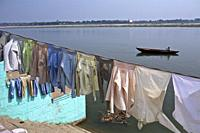 atmosphere and social life on the ghats of benares with the Ganges, india 2013.