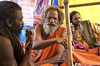 atmosphere in nagas baba camp on the benares ghats awaiting the shivaratri closing the kumbh mela of Allahabd. UP, india.