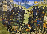 Medieval warfare. At Recueil des chroniques dAngleterre. Created in 1470 by Jean de Wavrin.