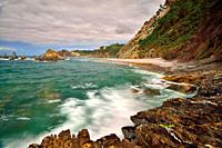 Gairúa Beach, Santa Marina. Asturias. La Gueirúa beach is in the council of Cudillero, in the west of the Principality of Asturias and belongs to the ...