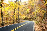 Fall colors at Clear Fork Gorge iMohican State Park n northern Ohio OH.