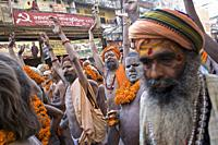 naga parade during shivaratri day in Bénares closing the kumbh mela of Allahabad, UP, india.
