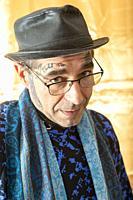 Tilburg, Netherlands. Studio Portrait of Caucasian man with tatoos's.