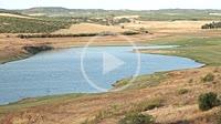 Reservoir with little water, José Torán Reservoir, Seville, Andalusia, Spain, Europe